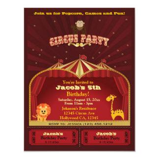 """El circo del niño lindo marca a la fiesta de invitación 4.25"""" x 5.5"""""""
