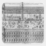 El circo Maximus en Roma, c.1600 Calcomanías Cuadradases