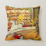 El circo por Seurat, bella arte del Pointillism Almohada