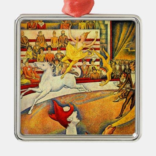 El circo por Seurat, bella arte del Pointillism Adorno De Navidad