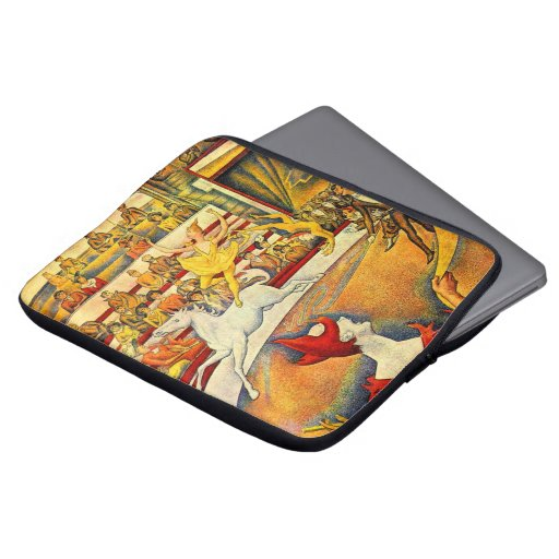 El circo por Seurat, bella arte del Pointillism Funda Computadora