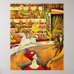 El circo por Seurat, bella arte del Pointillism Poster
