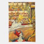 El circo por Seurat, bella arte del Pointillism Toalla De Cocina
