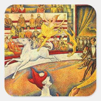 El circo por Seurat, bella arte del Pointillism Calcomanía Cuadradas