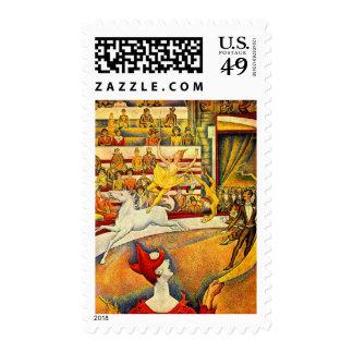 El circo por Seurat, bella arte del Pointillism Sellos