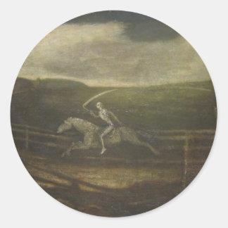 El circuito de carreras o la muerte en un caballo etiqueta
