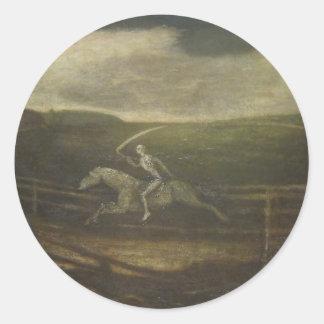 El circuito de carreras o la muerte en un caballo pegatina redonda
