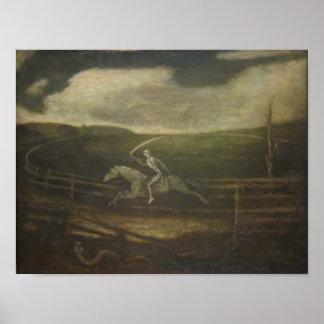 El circuito de carreras o la muerte en un caballo  póster