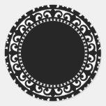 el CÍRCULO BLANCO NEGRO 3332__doily-shape-1 FORMA Etiquetas Redondas