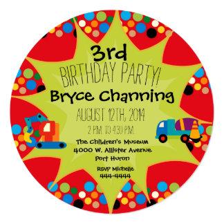 """El círculo del cumpleaños de los vehículos de la invitación 5.25"""" x 5.25"""""""