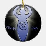 El círculo del ornamento del árbol de la diosa adorno navideño redondo de cerámica