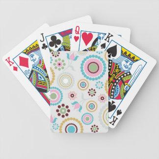 El círculo en colores pastel de la flor del Retro- Baraja Cartas De Poker