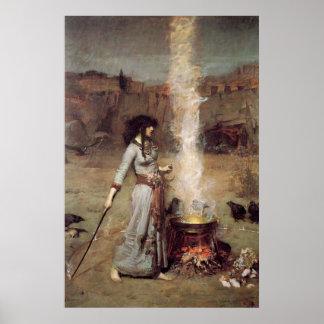 """""""El círculo mágico"""" John William Waterhouse Póster"""