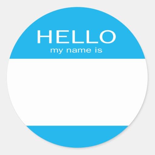El círculo redondo hola mi nombre es pegatina