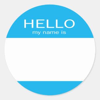 El círculo redondo hola mi nombre es pegatina redonda