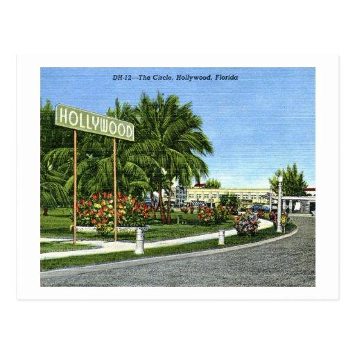 El círculo, vintage de Hollywood, la Florida Postal