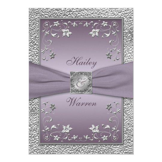 """El ciruelo, boda con monograma floral del estaño invitación 5"""" x 7"""""""