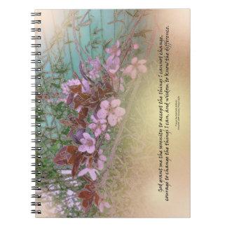 El ciruelo del rezo de la serenidad florece casa spiral notebook