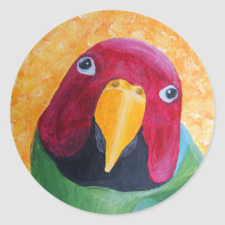 El ciruelo dirigió la pintura del Parakeet Pegatina Redonda