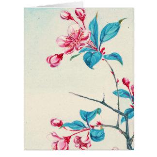 El ciruelo florece 1870 tarjeta de felicitación grande