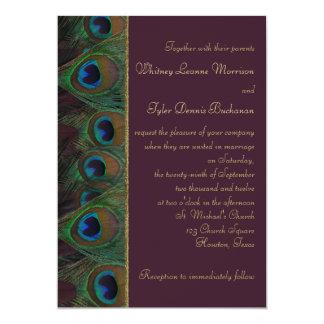 El ciruelo, pavo real del oro empluma la invitación 12,7 x 17,8 cm
