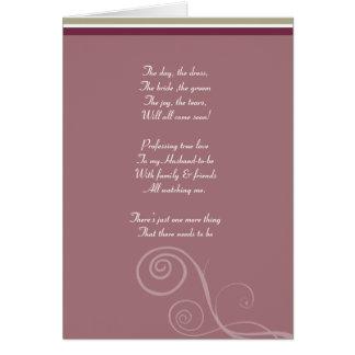 El ciruelo rayado sea mi tarjeta del bridemaid