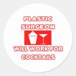 El cirujano plástico… trabajará para los cócteles pegatinas redondas