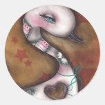 El cisne que falta del pedazo con el corazón etiquetas redondas