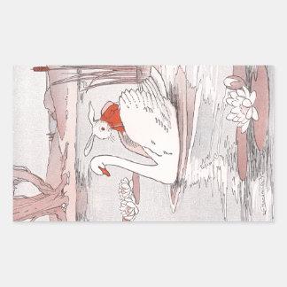 El cisne sereno da a conejo una elevación pegatina rectangular