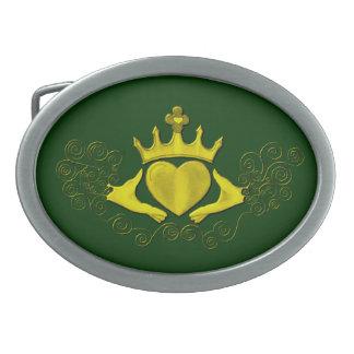 El Claddagh (oro) Hebillas De Cinturón Ovales
