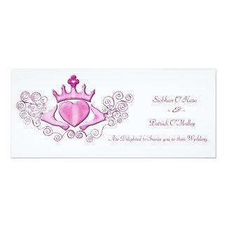 """El Claddagh (rosa) Invitación 4"""" X 9.25"""""""