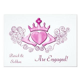 """El Claddagh (rosa) Invitación 5"""" X 7"""""""