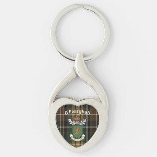 El clan de Farrell del escudo de armas y del Llavero Plateado En Forma De Corazón