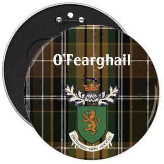 El clan de Farrell del escudo de armas y del Pin Redondo De 6 Pulgadas