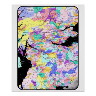 El clan escocés del mapa de Escocia nombra imagen  Póster