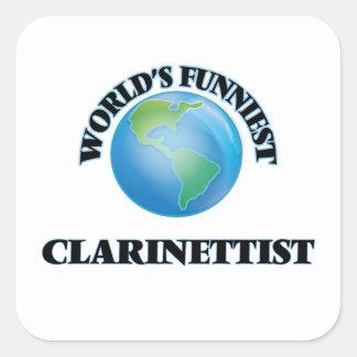 El clarinetista más divertido del mundo pegatina cuadrada