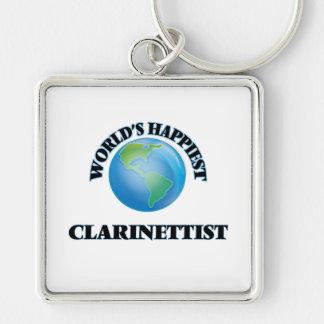 El clarinetista más feliz del mundo llavero cuadrado plateado