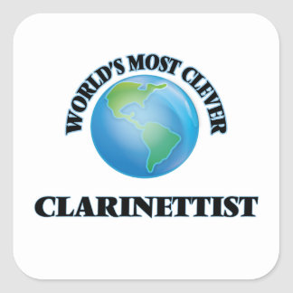 El clarinetista más listo del mundo pegatina cuadrada