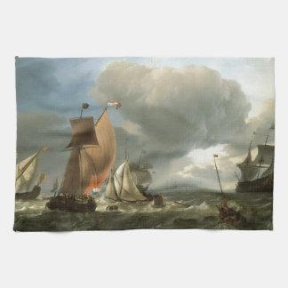 El clavar con tachuelas del yate del velero y de l toalla de mano