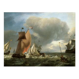 El clavar con tachuelas del yate del velero y de l tarjetas postales