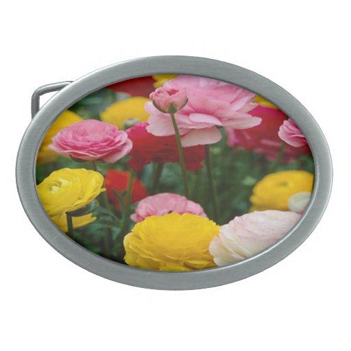 El clavel colorido florece la hebilla del cinturón hebilla de cinturón oval