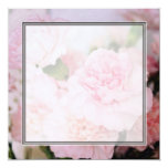 """El clavel del rosa del estilo del vintage florece invitación 5.25"""" x 5.25"""""""
