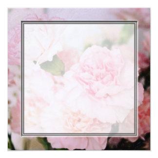 El clavel del rosa del estilo del vintage florece invitación 13,3 cm x 13,3cm