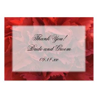 El clavel rojo floral le agradece las etiquetas tarjetas de visita grandes