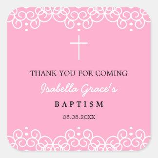 El clavel rosado y el bautismo del blanco el | le pegatina cuadrada