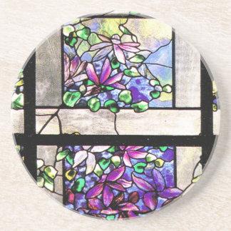 El Clematis del vitral de Tiffany florece el práct Posavasos De Arenisca