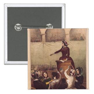 El club de las mujeres, c.1848 pin cuadrada 5 cm