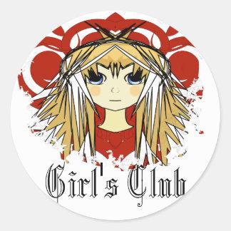 El club del chica - pelo rubio del animado ultra etiqueta redonda