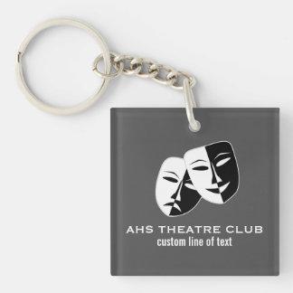 El club del drama del teatro enmascara nombre de llavero cuadrado acrílico a una cara
