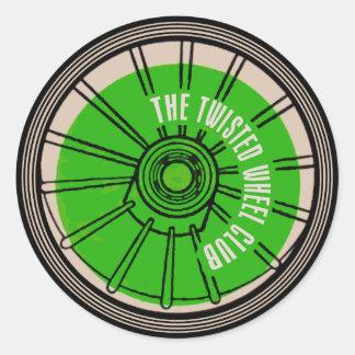 El club torcido de la rueda pegatina redonda